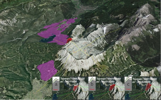 Location and likely size of the Eibsee and Ehrwald rock avalanches