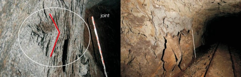 Spalling along the Bedretto adit, showing (left) a close-up of the spall notch tip, and right, full sidewall spalling along the tunnel (Huber 2004).