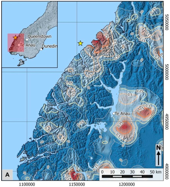 Percentage-increase (log-scale) in landslide density, recorded in 2007, the year of the Fiordland earthquake.