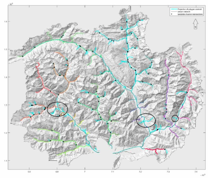 Map of the catchment area or Lake Maggiore (base map derived from a LiDAR greyscale hillshade DEM) which shows the river channels (marked with colours) and the intersections with landslides (marked with black crosses). The black circles mark areas where the intersection would project to the alluvium.